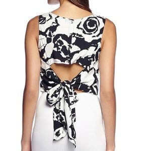 Michael Stars Tie-Back Crop Top Black White NWOT